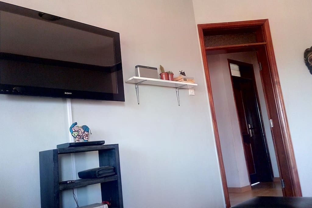 Large flat screen with cable