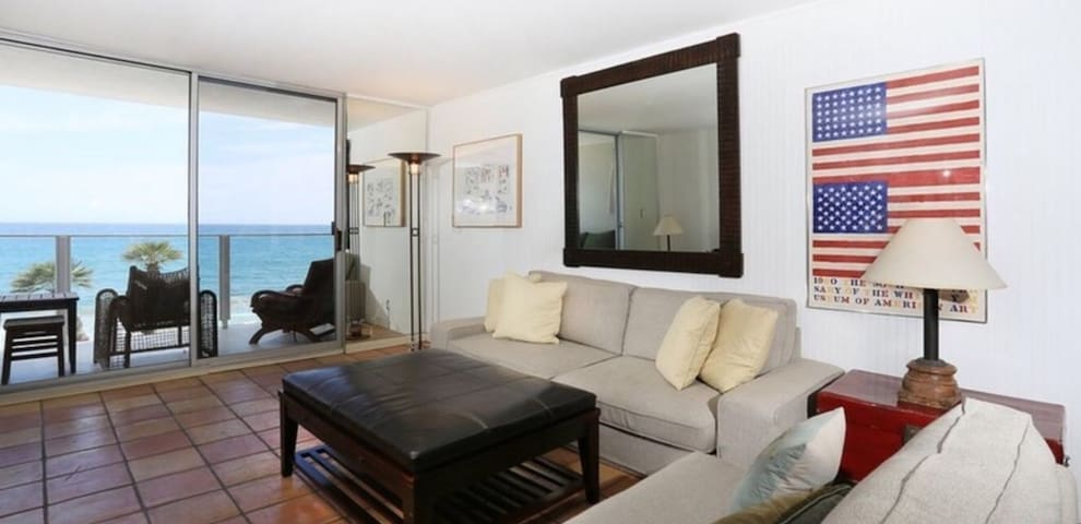 living room with ocean views. Relax and watch the Dolphins
