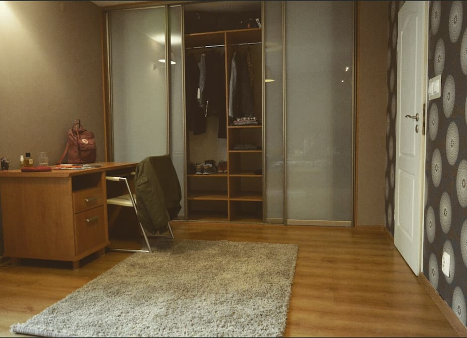 The bedroom is quite big, so feel free to make yourself at home :)