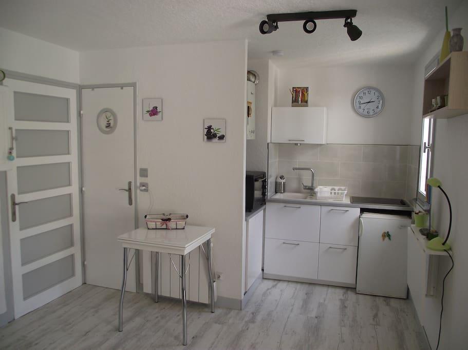 pièce principale donnant sur la salle de bain / cuisine ouverte