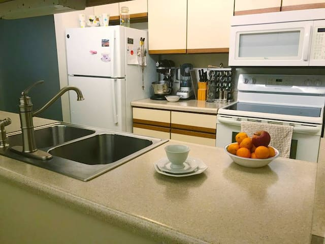 There is coffee and a full functional kitchen