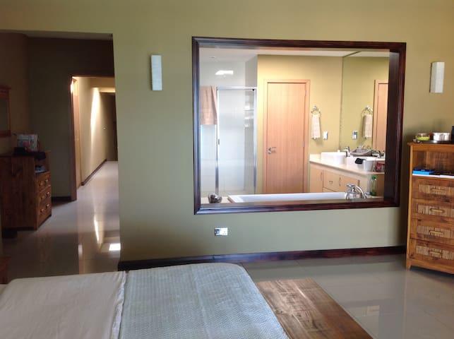 main bedroom with open plan bathroom