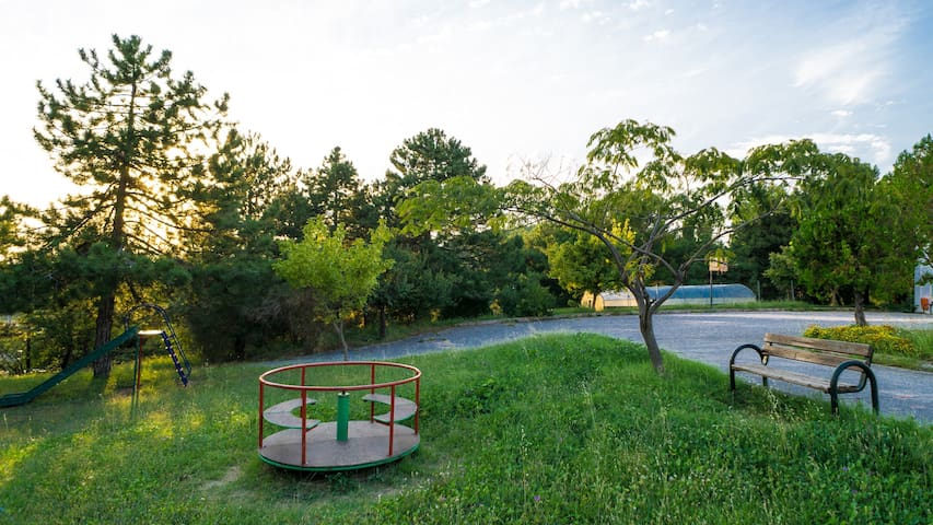 Public park and basketball court adjoining the property