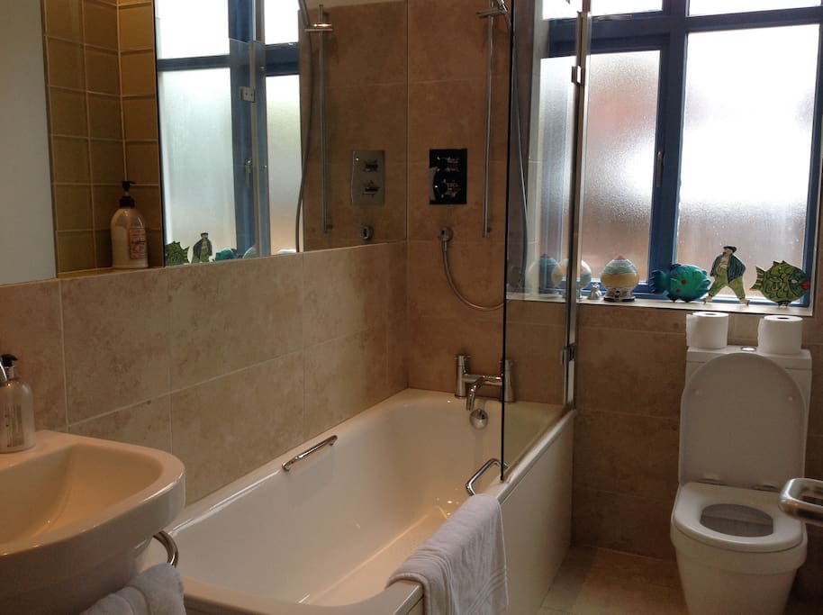 The bathroom is next to the bedroom is primarily for the use of guests.