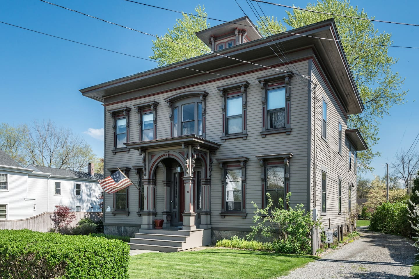 Built in 1860, this Italian VIlla style Victorian is located just off the SE corner of the Guilford Green, a few steps from lots of restaurants, shopping, churches, and the most beautiful Green in New England!