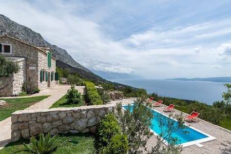 Luxury stone house with pool - Lokva Rogoznica - Rumah