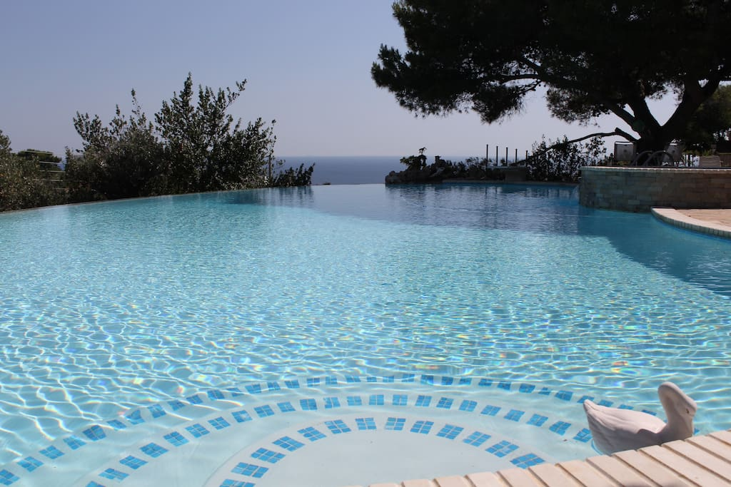 the infinity pool becomes one with the blue color of the sea and the sky