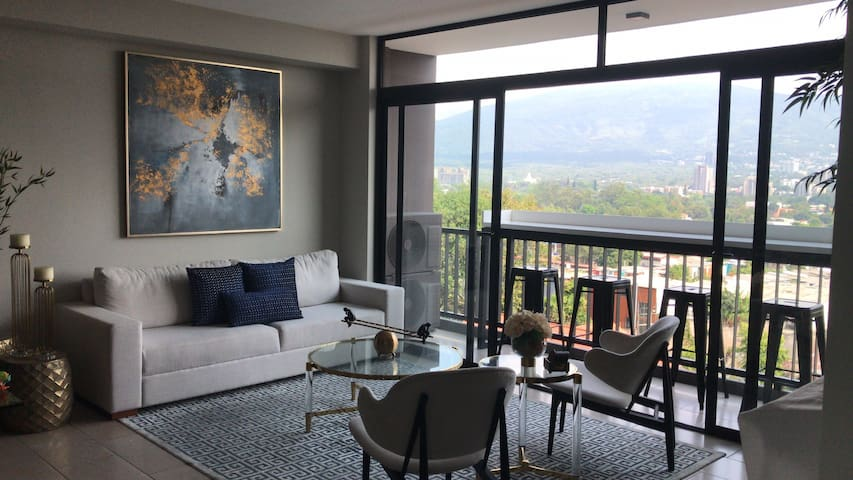 Beautiful apartment with volcano and city views