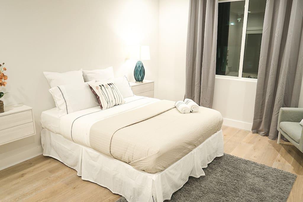 NEW queen size firm mattress with fresh bedding !