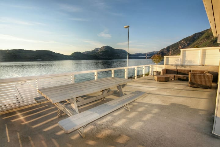 Your own terrace area with table and sofa area with this view.