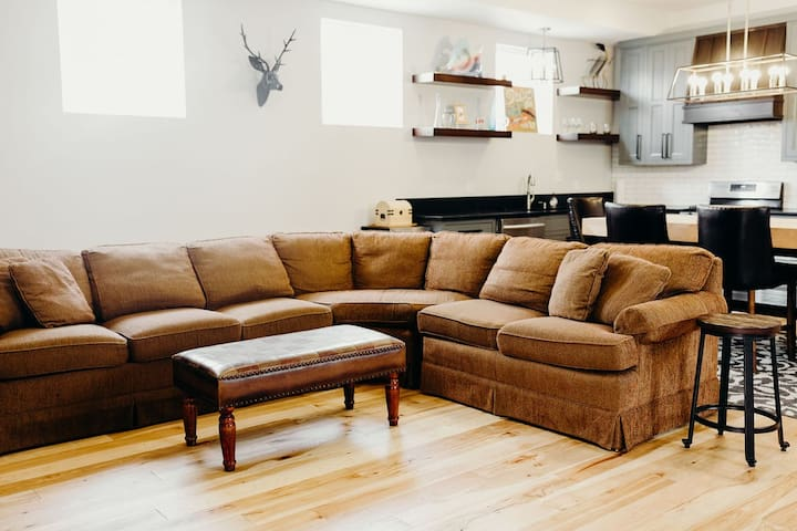 Large Sectional In Open Concept Living Room & Kitchen