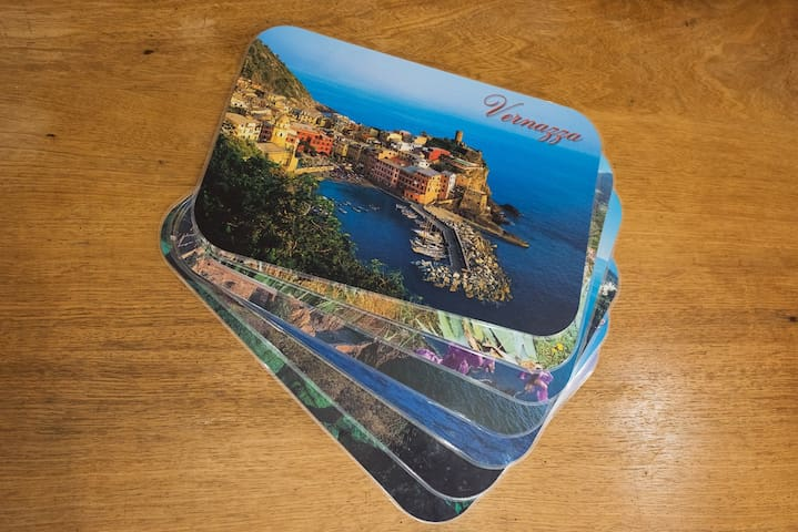 Placemats: we even have photographic placemats of the most beautiful towns in the area!