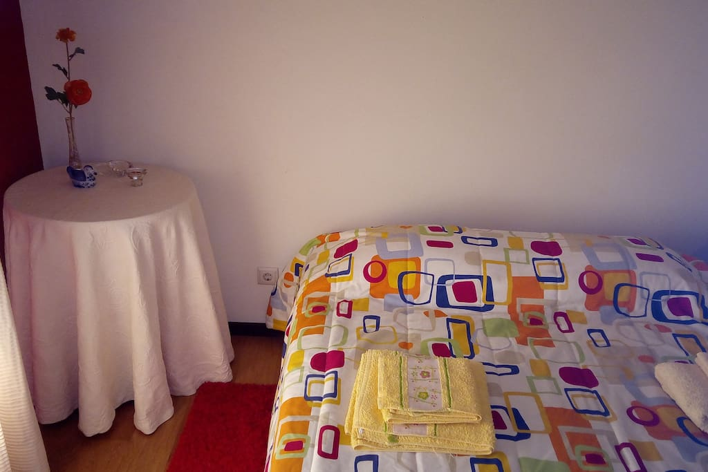 Double bed (+ floor mattress for one)