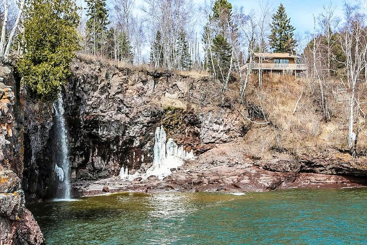 Cathy`s Cove is in a great location with a beautiful cascading waterfall and a private cove on Lake Superior.