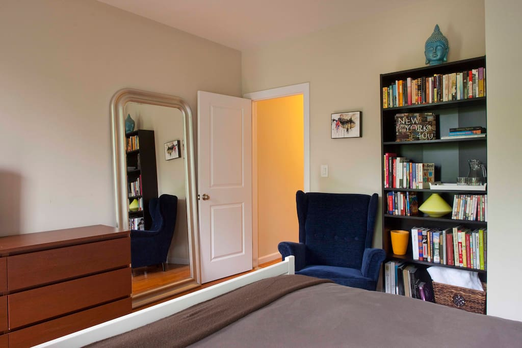 Reading nook with plenty of books on NYC