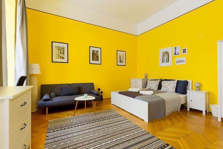 Yellow comfort right next to the Synagogue