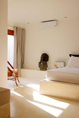 Sunlight beam in bedroom