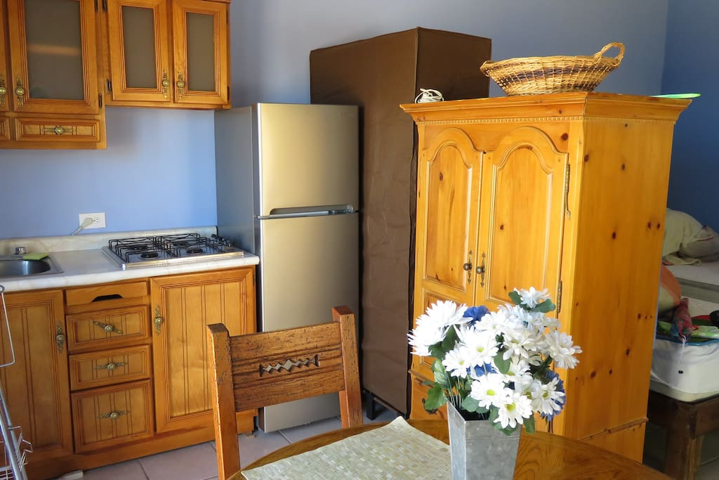 Kitchen has a full sized fridge and stove top as well as many small appliances.