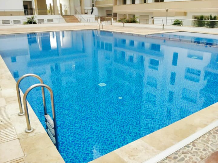 Apartment with 2 bedrooms in Agadir, with wonderful sea view, shared pool and balcony - 7 km from the beach