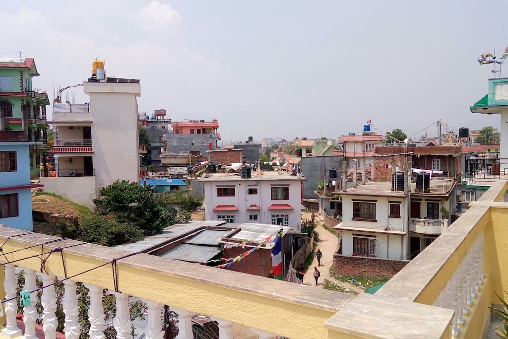 View of Boudhanath stupa (can be seen by eyes not on camera)from the balcony