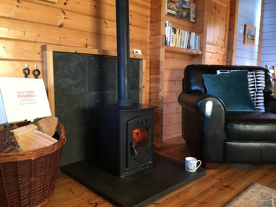 Cosy wood burner with unlimited firewood!