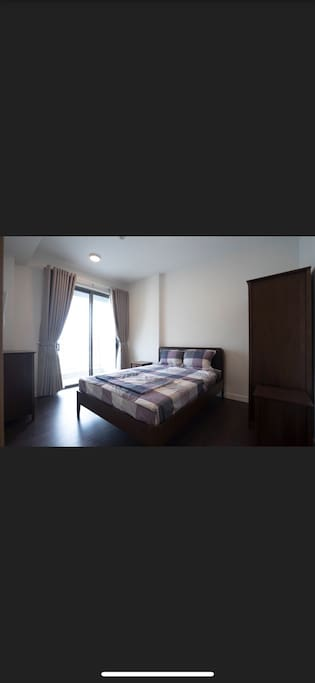 Lovely big bedroom with bathroom and balcony inside