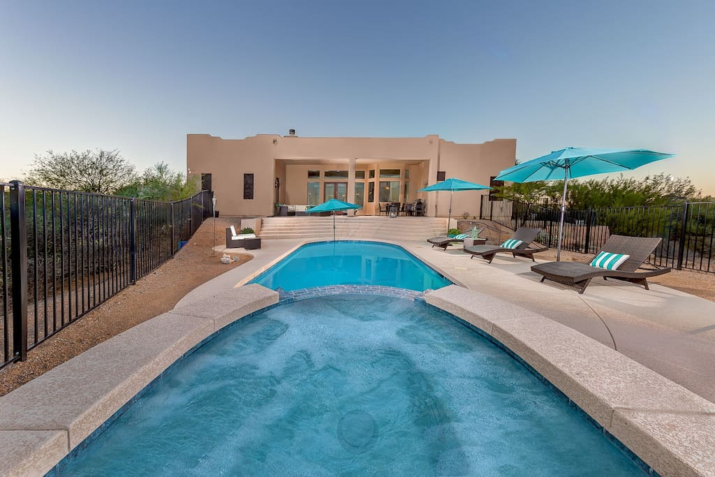 Beautiful large back yard with pool and spa and outdoor fire-pit!