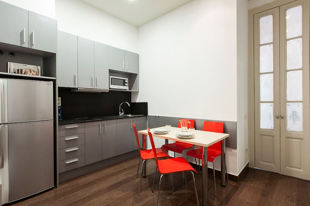 kitchen, fridge, table, chairs, microwave