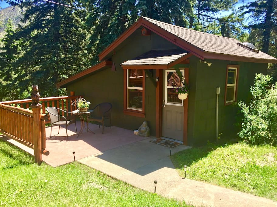 Enjoy your morning coffee or your evening glass of wine on the cabins private patio!