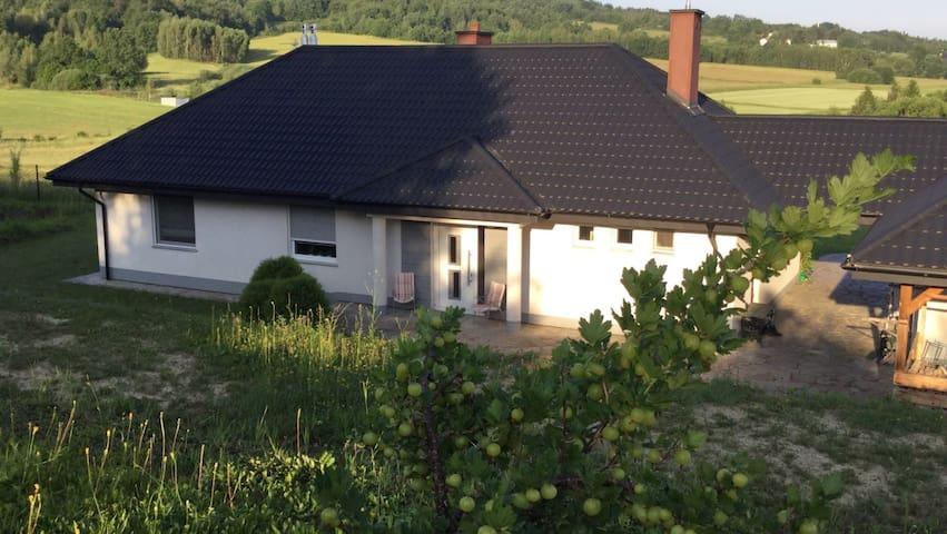 Ustronny Dom na wzgórzu w Beskidzie Niskim