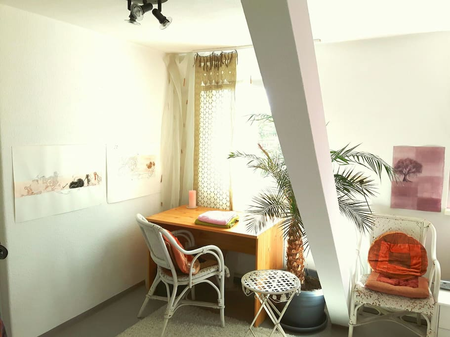 your room upstairs  / desk
