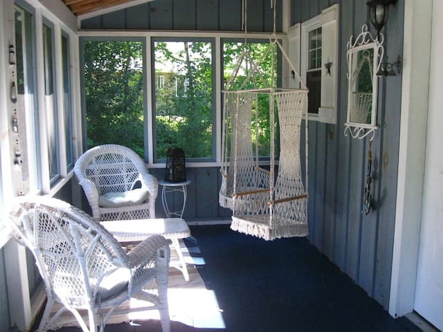 Screened porch for the rainy days and away from the mosquitoes.