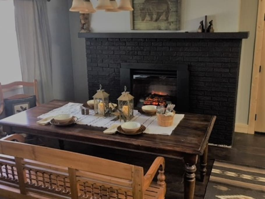 Dining space with fireplace