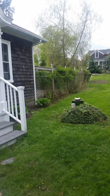This view shows the cottage steps and the rose bushes just about ready to bloom on their trellis.