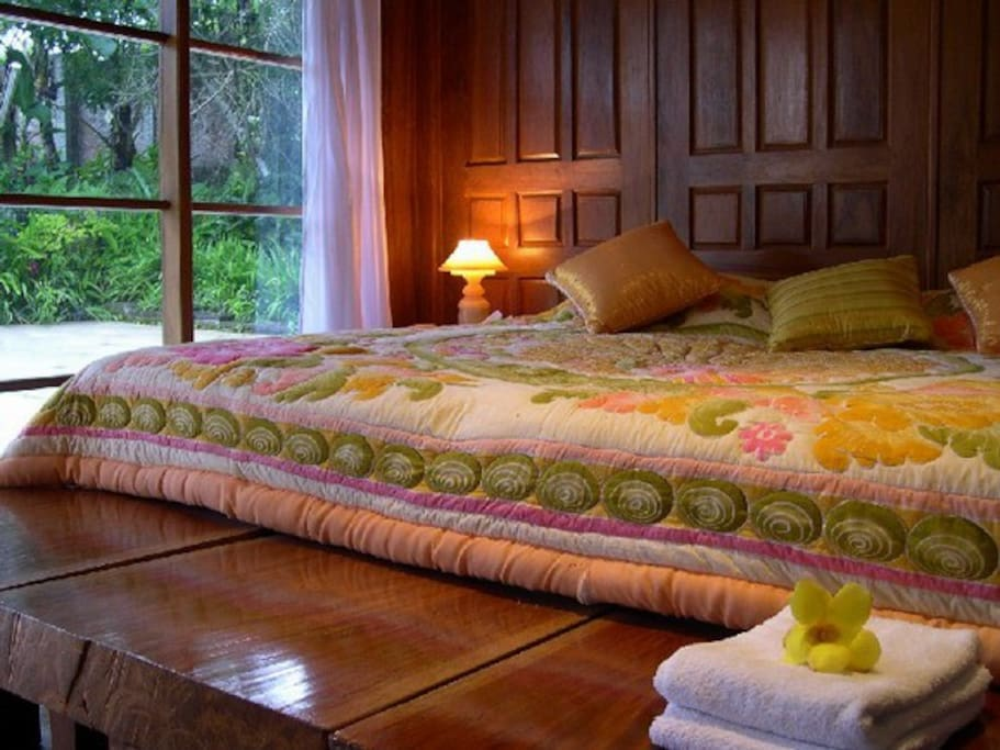 Bed made of massive wood
