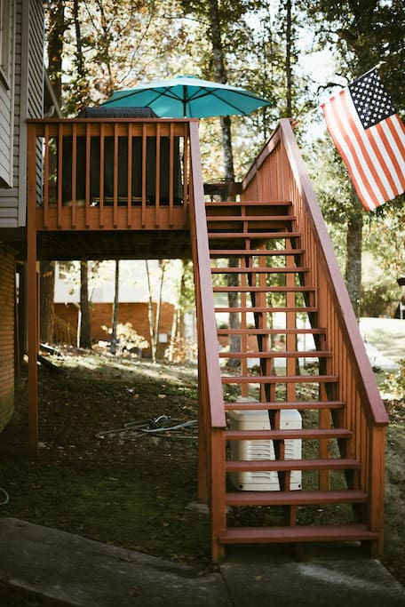 Stairs to deck and your private entrance