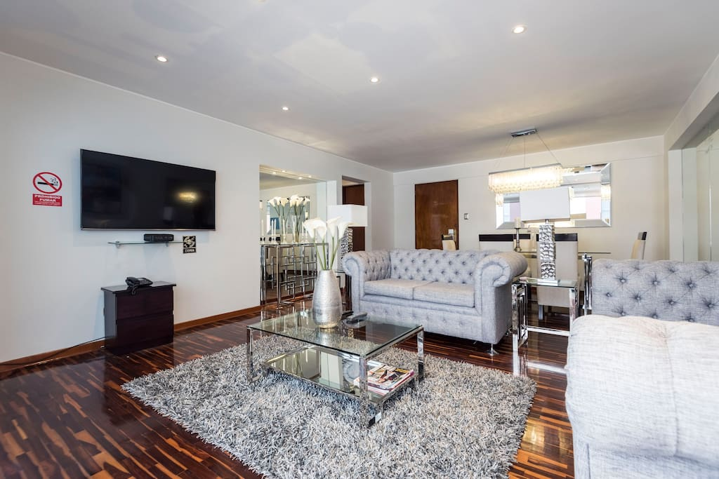 Modern and stylish living room with HD TV and Premium Cable