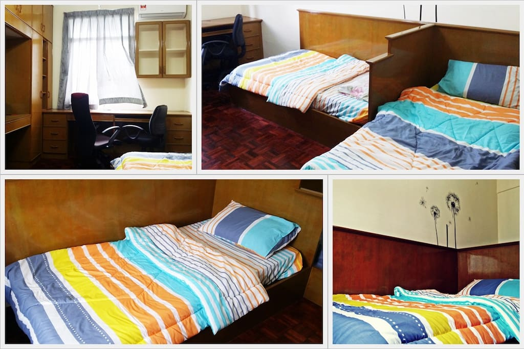 Equipped with 2 single beds+ attached table+chairs, cupboard