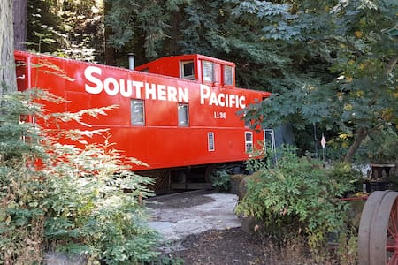 Caboose in the redwoods just outside of Cupertino