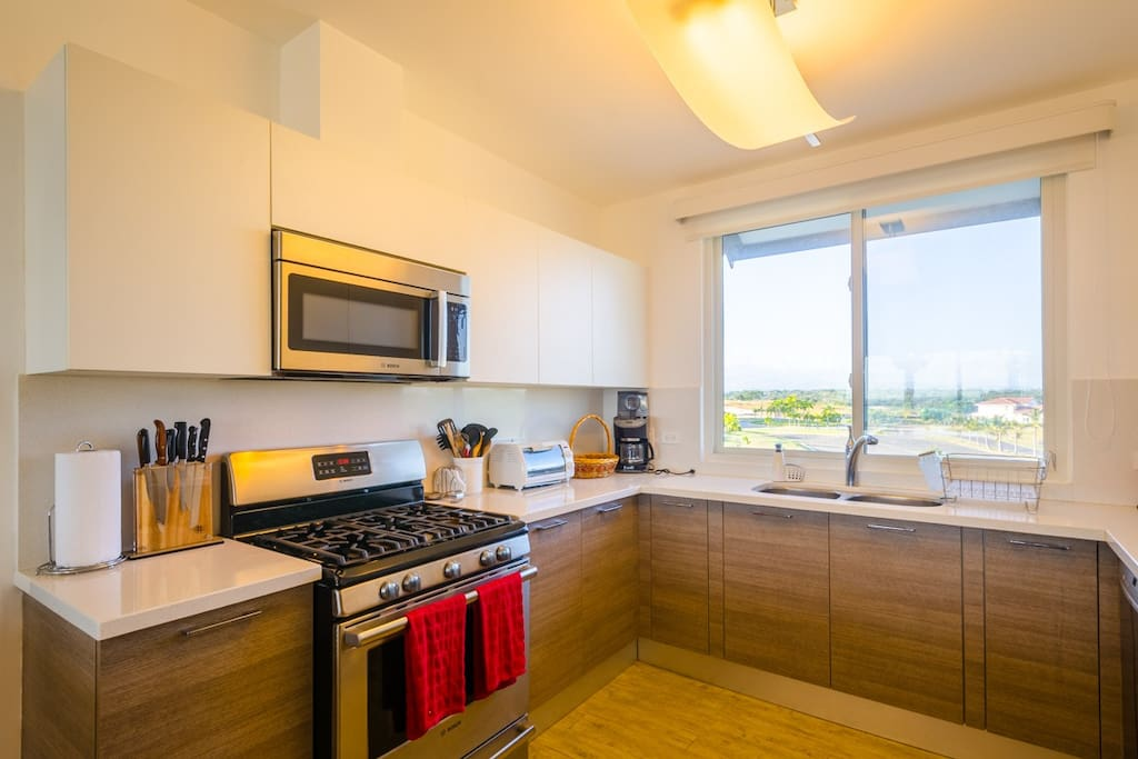 Kitchen with golf view