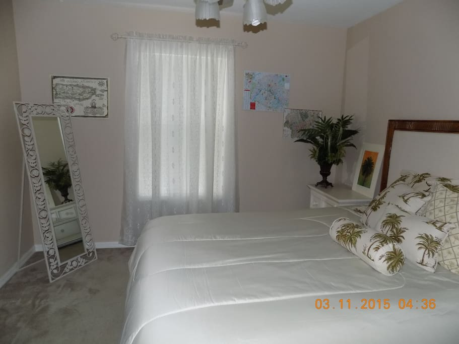 Large private bedroom with ceiling fan.  bathroom next to bedroom and private loft.