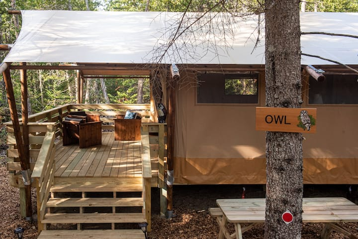 Owl Tent, Woods of Eden Glampground, Acadia