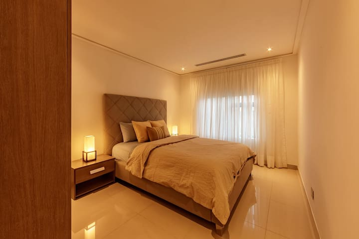Master bedroom with upgraded polished floor
