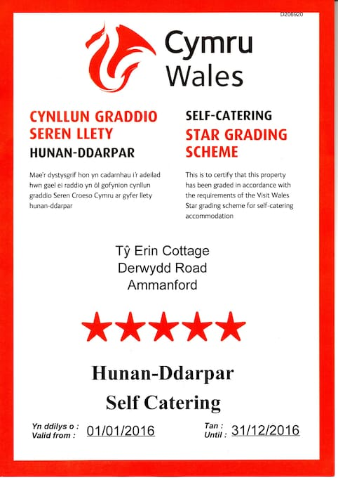 5 Star self catering cottage. Awarded by  the Welsh Tourist Board.  Visit Wales