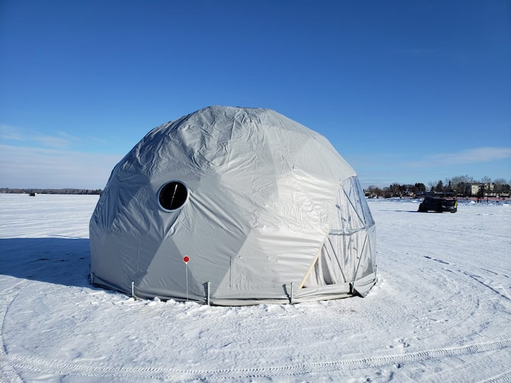 Geodesic fishing shack on Sylvan Lake