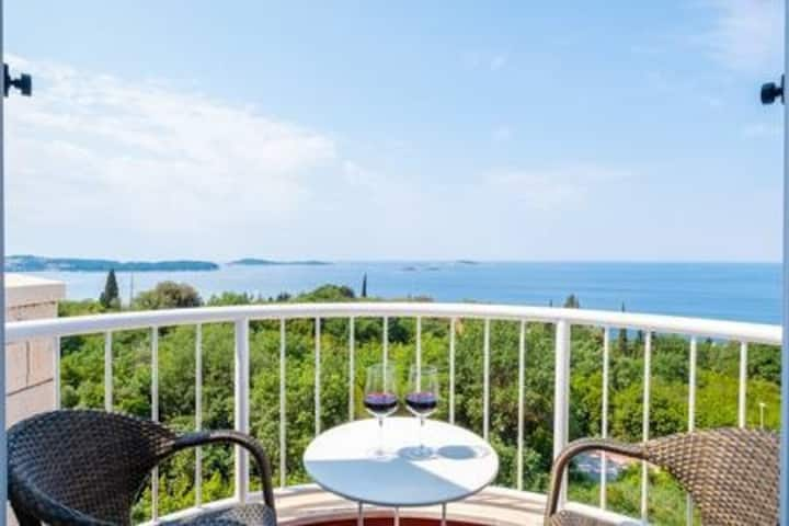 Villa Panorama - Plat - Comfort Double Room with Balcony and Sea View