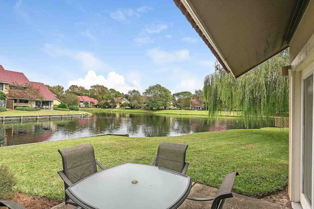 Relax and enjoy the lake views on the back patio