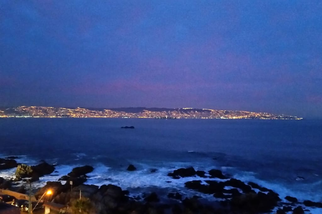 View from living room, looking towards Viña and Valparaíso at evening.