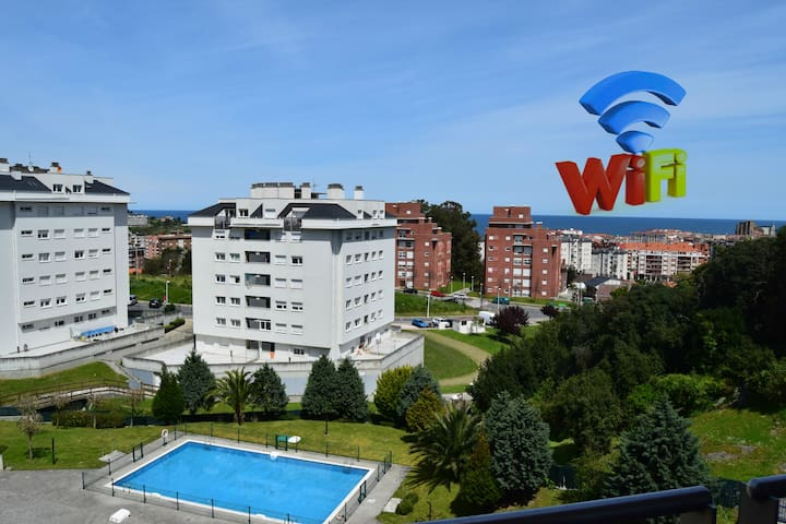 Apartment with Pool & 2 Terraces. View. WIFI - Castro Urdiales - Apartamento