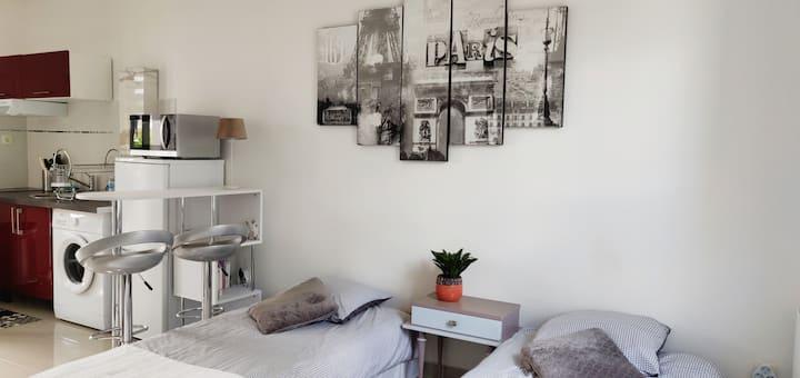 Studio moderne et fonctionnel avec jardin